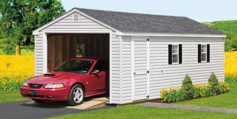 Detached storage garages glick structures for One car garage storage