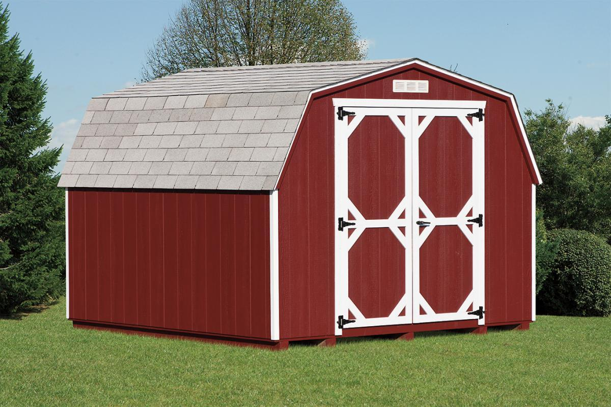 Red mini barn shed with white trim glick structures for Mini barn shed