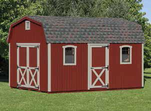red 12'x16' Pine Dutch Barn shed