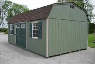 green 12 x 24 Dutch Barn shed