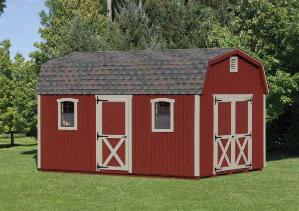 Painted Red Pine Dutch Barn Shed