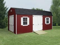 red and white Dutch Barn shed